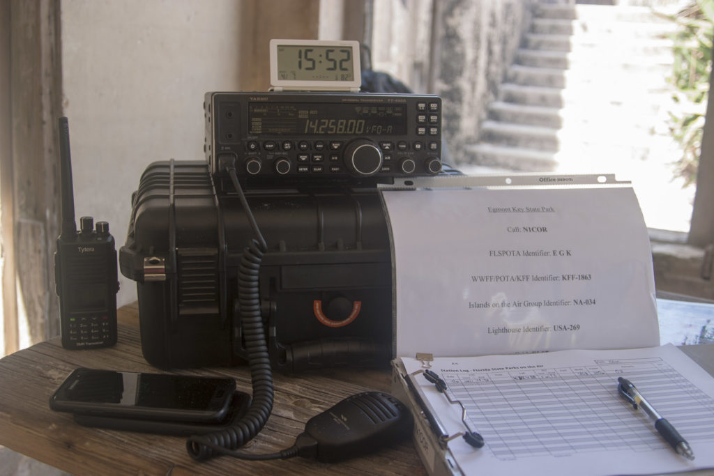 Our 20 meter station, complete with cheat sheet for all the identifiers for this island.